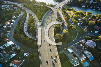 Royalty Free Photo of an Aerial View of State Route 21 and State Route 40 in Huntleys Point, Australia