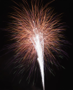 Royalty Free Photo of Fireworks Exploding in the Night Sky
