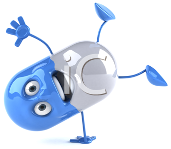 Royalty Free Clipart Image of a a Blue and White Capsule Doing a Flip