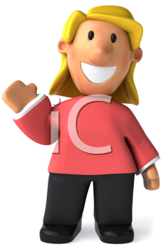 Royalty Free Clipart Image of a Woman Waving