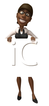 Royalty Free Clipart Image of a Black Woman Holding a Sign