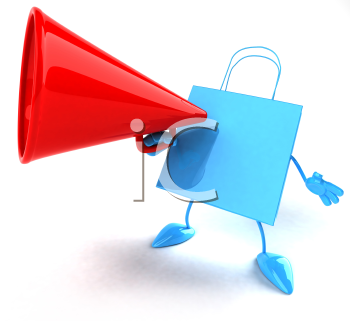 Royalty Free 3d Clipart Image of a Shopping Bag Talking into a Megaphone
