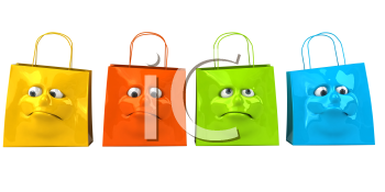 Royalty Free 3d Clipart Image of Shopping Bags with a Face on Them