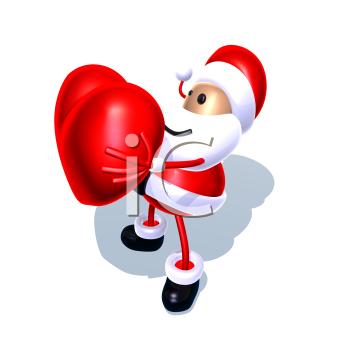 Royalty Free 3d Clipart Image of Santa Holding a Heart