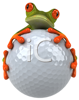 Royalty Free Clipart Image of a Frog and a Golf Ball