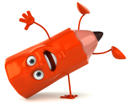 Royalty Free Clipart Image of a Pencil Doing a Handspring