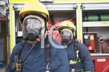 Royalty Free Photo of Firefighters in Gas Masks
