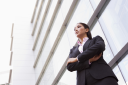 Royalty Free Photo of a Businesswoman Outside a Building