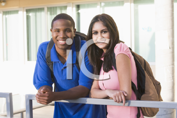 Royalty Free Photo of Two People at a Railing