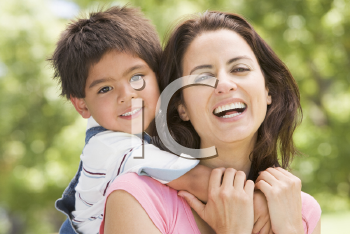 Royalty Free Photo of a Woman and Child Outside