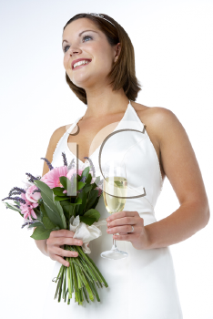 Royalty Free Photo of a Bride With a Glass of Wine