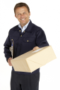 Royalty Free Photo of a Courier Handing Over a Parcel