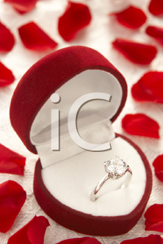 Royalty Free Photo of a Diamond Ring in a Heart Shaped Box Surrounded With Rose Petals