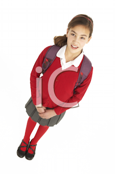 Royalty Free Photo of a Girl With a Backpack in a School Uniform