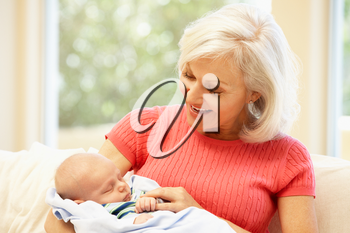 Woman with baby grandson