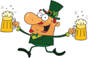 Royalty Free Clipart Image of a Happy Leprechaun With Two Pints of Beer