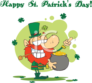 Royalty Free Clipart Image of a St. Patrick's Day Leprechaun and a Pot of Gold