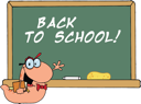 Royalty Free Clipart Image of a Bookworm at the Blackboard With Back to School Written on It