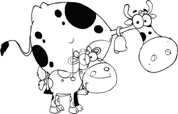 Royalty Free Clipart Image of a Cow and Calf