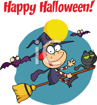 Royalty Free Clipart Image of a Witch and a Cat Riding a Broom on a Happy Halloween Greeting