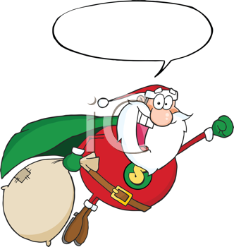 Royalty Free Clipart Image of a Superhero Santa With a Conversation Bubble