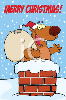 Royalty Free Clipart Image of a Happy Santa Bear in a Chimney