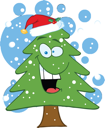 Royalty Free Clipart Image of an Evergreen With a Santa Hat on Top