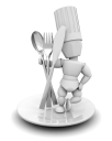 Royalty Free Clipart Image of a Chef on a Plate With Cutlery