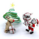 Royalty Free Clipart Image of Santa and Rudolph Delivering Presents