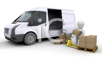 Royalty Free Clipart Image of a Person Loading a Van