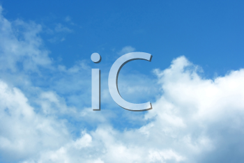 Background of blue sky with fluffy white clouds