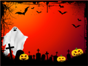 Grunge Halloween background with evil pumpkins and scary ghost