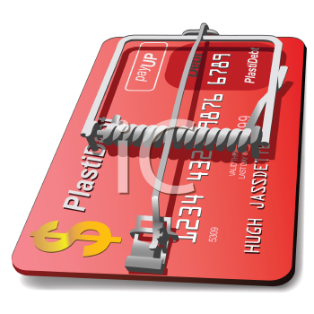 Royalty Free Clipart Image of a Credit Card Mousetrap