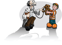Royalty Free Clipart Image of a Doctor With a Little Boy