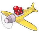 Royalty Free Clipart Image of a People in a Plane