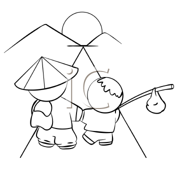 Royalty Free Clipart Image of an Asian Man and Child