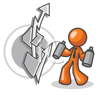 An orange man holding two spray cans having made a black and white dollar sign with arrows.