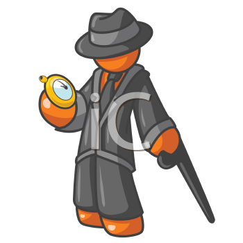 An orange man holding a stop watch while holding a stylish cane and wearing a hat. He looks good!