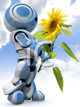 A glossy reflective 3d robot looking in awe at a large sunflower while standing in front of a cloudy sky.