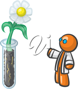 Orange Man scientist genetically altering a flower. Cute concept with details of roots in the dirt and all of that cool stuff.