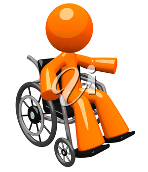 An orange man with his arm out gesturing, in a wheel chair. Perhaps he is disabled or recoving. Great hospital and wellness image to represent care and service to patient.