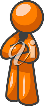 An orange man standing up in good posture crossing his arms in a professional manner.