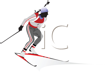 Royalty Free Clipart Image of a Biathlon Competitor