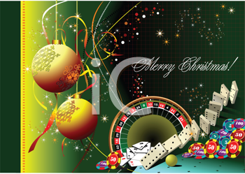 Royalty Free Clipart Image of a Christmas Greeting With Casino Elements