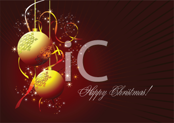 Royalty Free Clipart Image of a Happy Christmas Greeting With Gold Ornaments