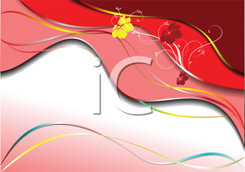 Royalty Free Clipart Image of a Background in Shades of Red With a Yellow and Red Flower