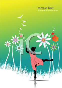 Royalty Free Clipart Image of a Dancer on a Floral Background