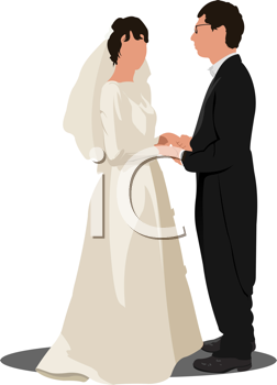 Bride and groom isolated on white for marriage ceremony design.