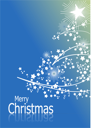 Blue abstract Christmas background with white snowflakes