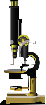 Old microscope. Colored vector illustration